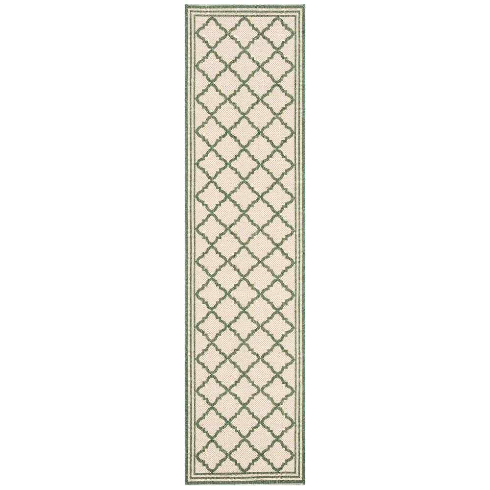 2X8 Quatrefoil Design Loomed Runner Cream/Green - Safavieh Coupons