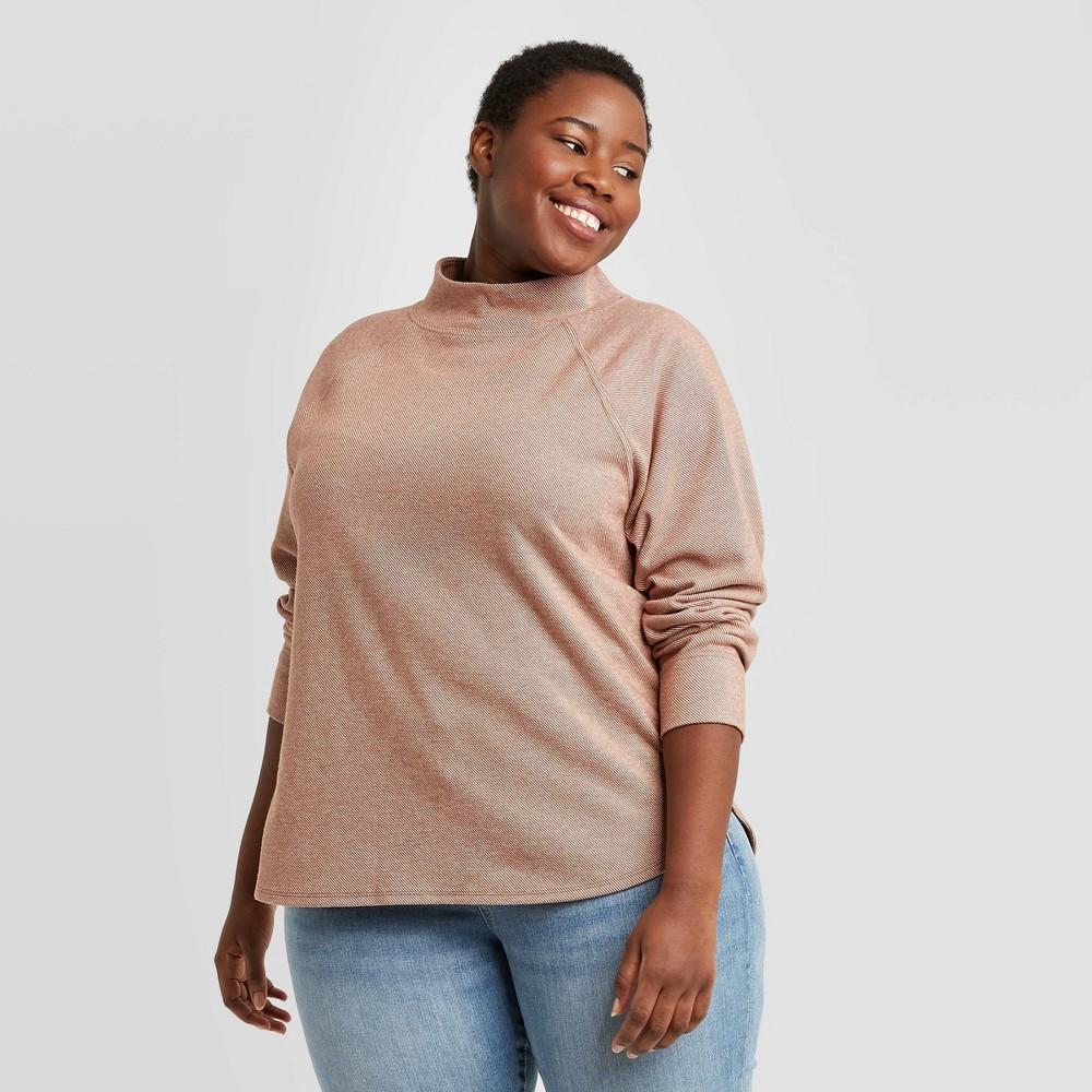 Women 39 S Plus Size Feminine Fleece Sweatshirt Ava 38 Viv 8482 Rust 4x
