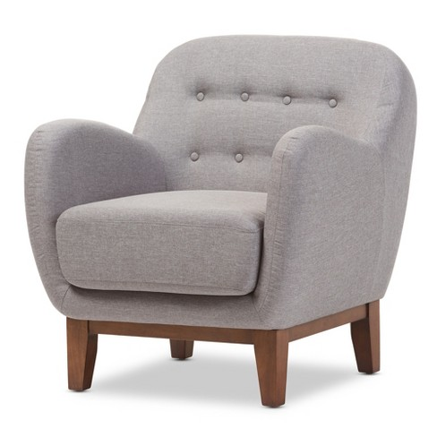 Sophia Mid - Century Fabric Upholstered Button - Tufted Armchair - Light Gray - Baxton Studio - image 1 of 5