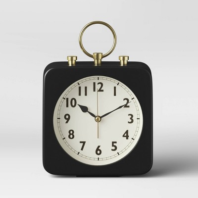 "5"" Square Alarm Clock Black - Threshold™"
