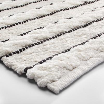 Striped Bath Rug White/Black   Opalhouse™ : Target