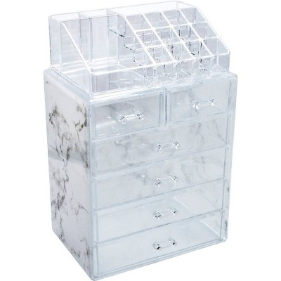 Sorbus Luxe Marble Cosmetic Makeup and Jewelry Storage Case Display Organizer