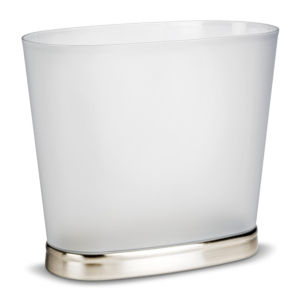 Image of Wastebasket ID Gina Oval Brushed Nickel, Silver Clear