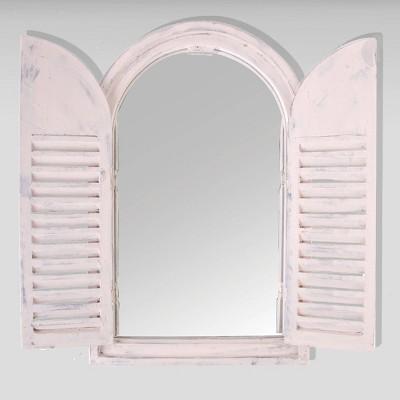 "23"" Wooden Window Frame With Glass French Doors White - Esschert Design"