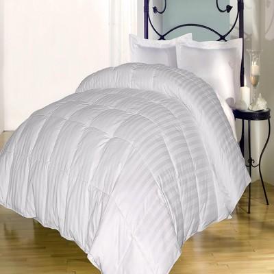 Blue Ridge Cotton Damask Stripe Patterned Deluxe Down Alternative Comforter 350 Thread Counts - White