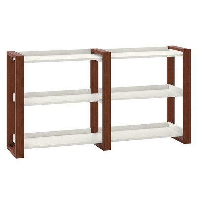 Voss Console Table with Shelves Cotton White/Serene Cherry - Kathy Ireland Home