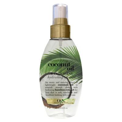 OGX Nourishing Coconut Oil Weightless Hydrating Oil Mist Lightweight Leave-In Hair Treatment - 4.0 fl oz