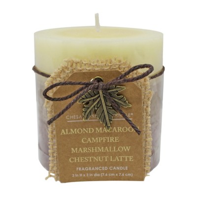 3  x 3  Layered Pillar Candle Almond Macaroon/Campfire Marshmallow/Chestnut Latte - Chesapeake Bay Candle
