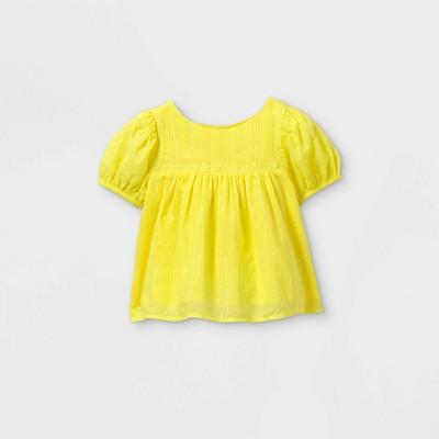 Toddler Girls' Crochet Shine Striped Short Sleeve T-Shirt - art class™ Yellow