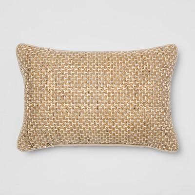 Silk/Cotton Textural Lumbar Throw Pillow Neutral - Threshold™