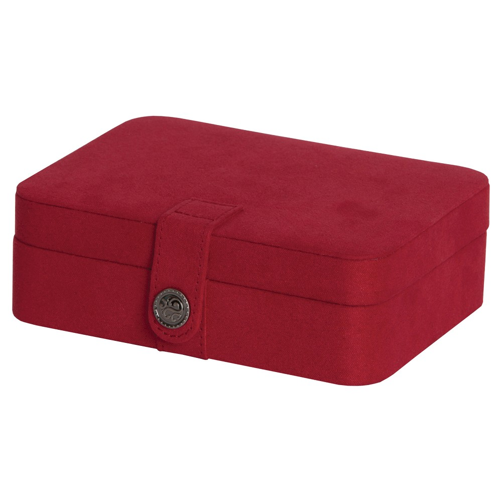 Image of Mele & Co. Giana Women's Plush Fabric Jewelry Box with Lift Out Tray-Red, Size: Small