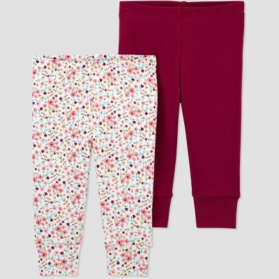 Baby Girls' 2pk Floral Pull-On Pants - Just One You® made by carter's Burgundy 6M