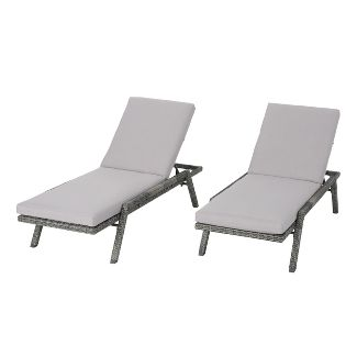 Felton Set of 2 Wicker & Aluminum Chaise Lounge - Gray - Christopher Knight Home