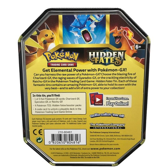2019 Pokemon Trading Card Game Hidden Fates Fall Tin featuring Charizard GX image number null