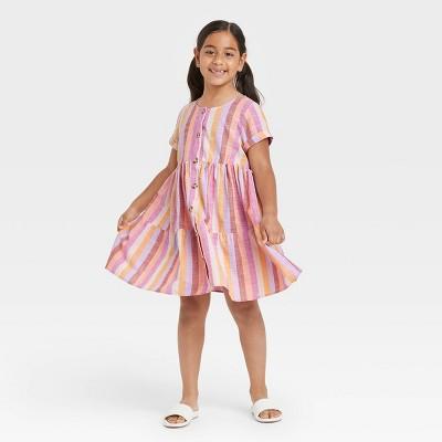 Girls' Button-Front Woven Dress - Cat & Jack™