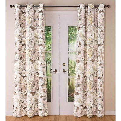 """Thermalogic Insulated Bella Donna Floral Grommet-Top Curtains, 84""""L Pair Double-Width"""