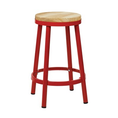"26"" Bristow Metal Backless Barstool Ash Wood - OSP Home Furnishings"