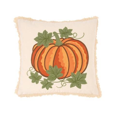 C F Home 18 X 18 Crewelwork Pumpkin Indoor Outdoor Pillow Target