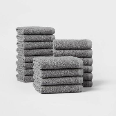 18pk Everyday Washcloth Bundle Dark Gray - Room Essentials™