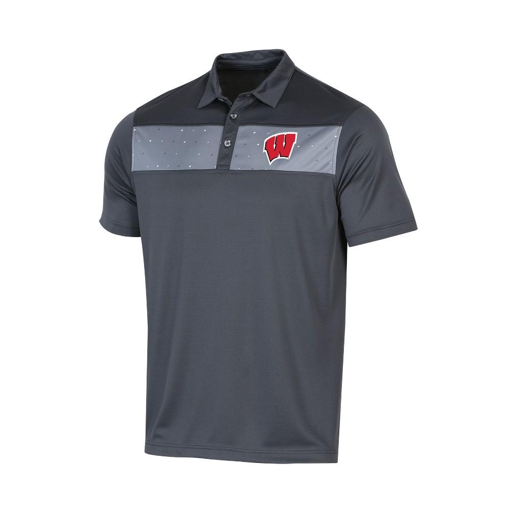 NCAA Men's Short Sleeve Polo Shirt Wisconsin Badgers - L, Multicolored
