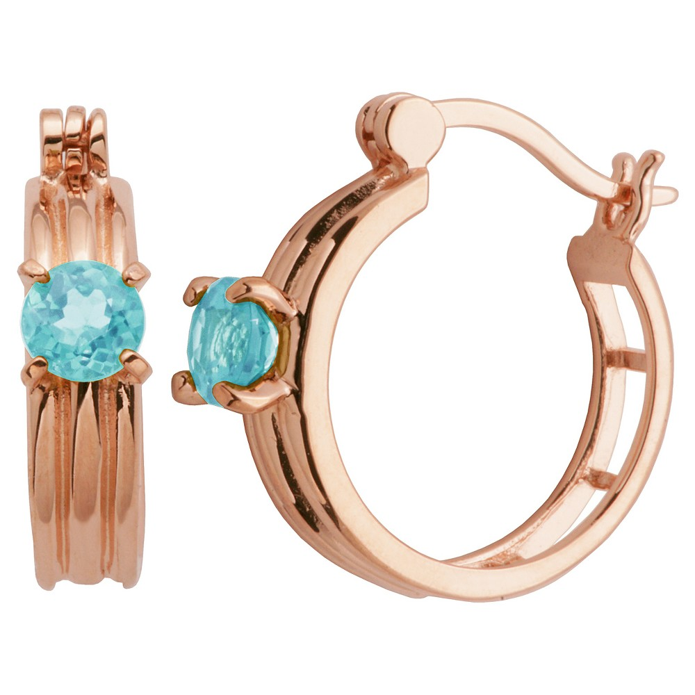 14k Rose Gold Plated Sterling Silver Genuine Sky Blue Topaz Hoop Earrings, Girl's
