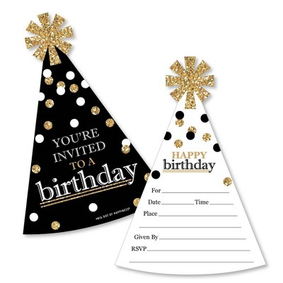 Big Dot of Happiness Adult Happy Birthday - Gold - Shaped Fill-in Invitations - Birthday Party Invitation Cards with Envelopes - Set of 12