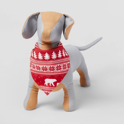 Fairisle Printed Wool-like Flannel Dog Fleece Bandana - Red - Wondershop™