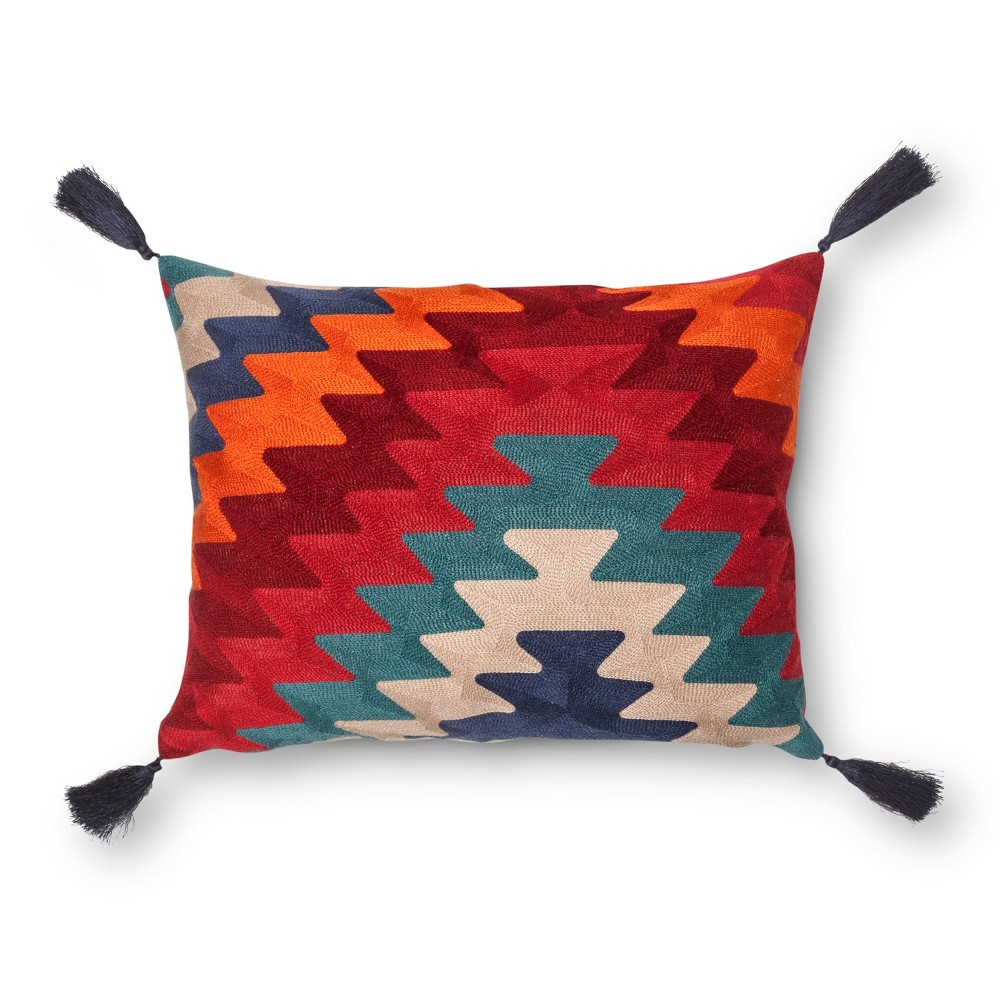 Image of Anatolia Towel Stitch Throw Pillow with Tassels - Mudhut, Multi-Colored