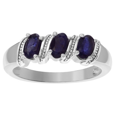 1/2 CT. T.W. Oval-cut Sapphire Three Stone Prong Set Ring in Sterling Silver - Blue - image 1 of 2