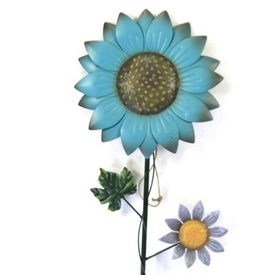 "Home & Garden 40.0"" Blue Flower Poke W/ Butterfly Yard Decor Stake Decoration Direct Designs International  -  Decorative Garden Stakes"