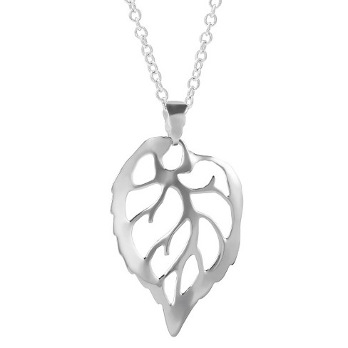 "Women's Journee Collection Cut out Leaf Pendant Necklace in Sterling Silver - Silver (18"") - image 1 of 2"
