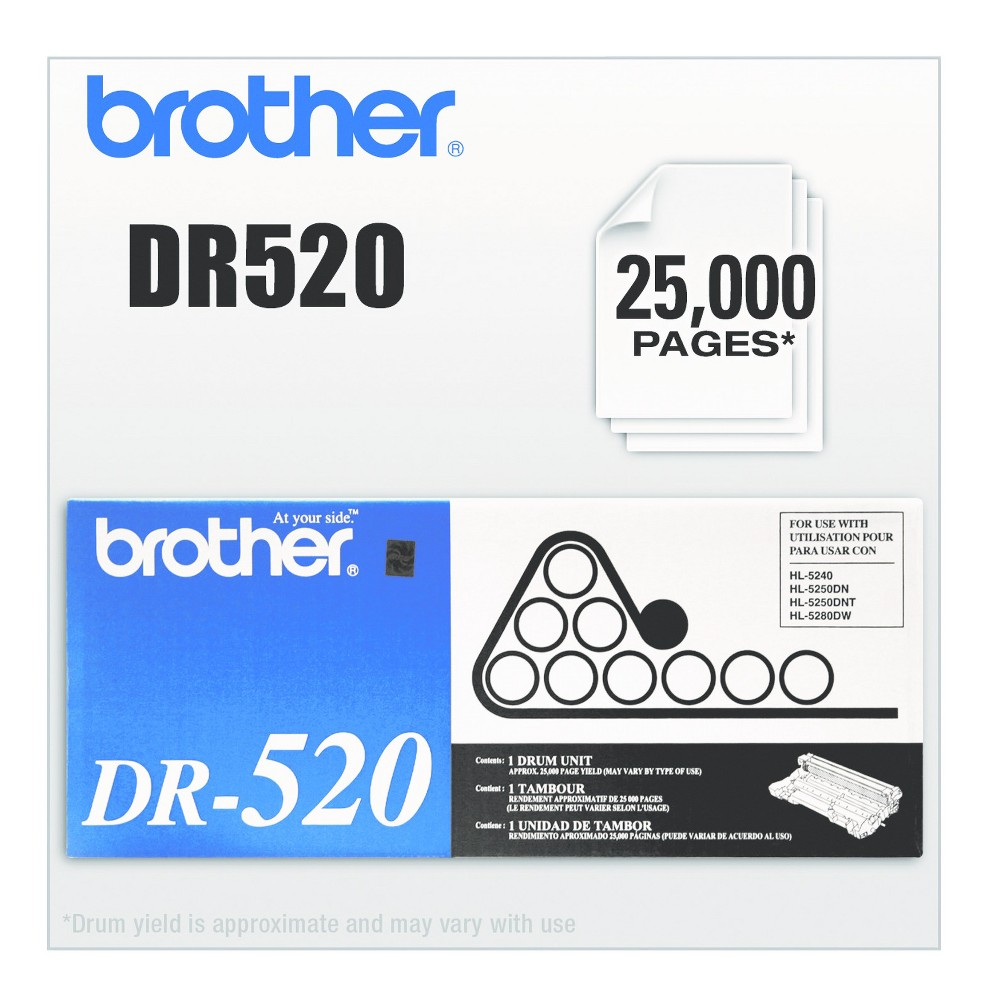 Brother DR520 Laser Printer Drum Unit - Black (BRTDR520) This Oem quality laser drum cartridge works with your toner cartridge (sold separately) to provide clean, sharp printing. Specifically engineered for superior reliability in your printer. Snaps easily into place with minimal fuss. Device Types: Multifunction Laser Printer; Color(s): Black; Page-Yield: 25000; Supply Type: Drum Unit.