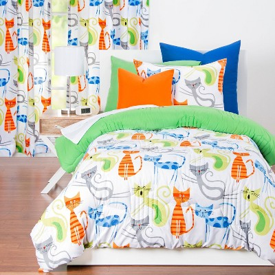 King pillowcase green cats for kids green cats Queen bed sheet crib bedding Queen bedding set with green cats for kids baby toddler adult