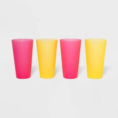 21oz 4pk Plastic Tumblers Yellow/Pink - Sun Squad™