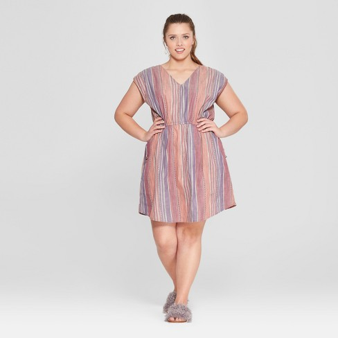 Women's Plus Size Striped Side Tie Dress - Universal Thread™ Purple - image 1 of 3
