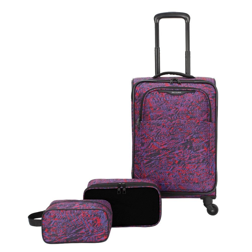 Skyline Softside 3pc Spinner Luggage Set Purple Sketch Print