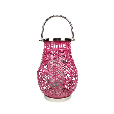 "Northlight 13.5"" Modern Fuchsia Pink Decorative Woven Iron Pillar Candle Lantern with Glass Hurricane"