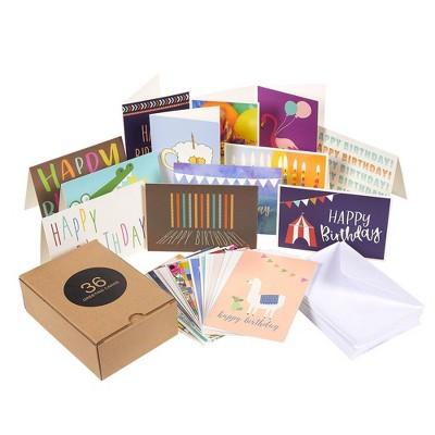Best Paper Greetings 36 Pack Happy Birthday Card Greeting Card with Envelopes Blank Bulk Box Set for Kids Women Men