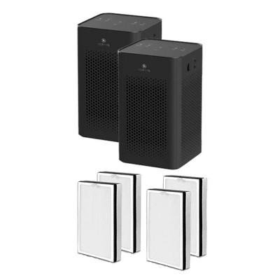 Medify Air MA-25-B2 Medical Grade HEPA Table Top Air Purifier, Black (2 Pack) and MA-25R-2 Air Purifier 3 in 1 Replacement Filter Set (2 Pair)