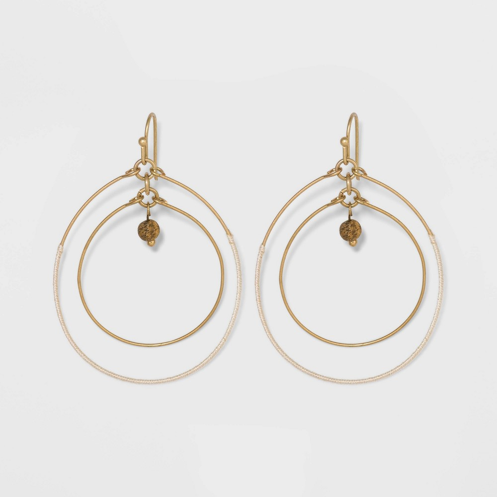 Image of Double Open Circle Drop with Semi-Precious Jasper Bead Earrings - Universal Thread Natural, Women's