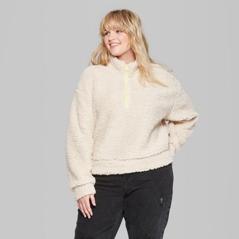 9e545060181 Women s Plus Size Long Sleeve Quarter Zip Sherpa Pullover Shirt Jacket - Wild  Fable™ Natural 3X   Target