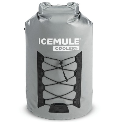 IceMule 1015-Grey Pro XLarge Collapsible Portable Soft Sided Roll Top 33 Liter 24 Can Lightweight Insulated Waterproof Backpack Cooler