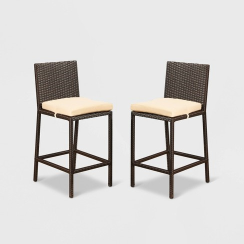 Cailen Outdoor Wicker Bar Stools with Cushions (Set of 2) - Espresso - Abbyson Living - image 1 of 4