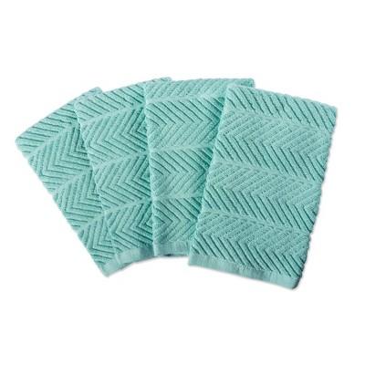 4pk Cotton Chevron Luxury Barmop Towels Aqua - Design Imports