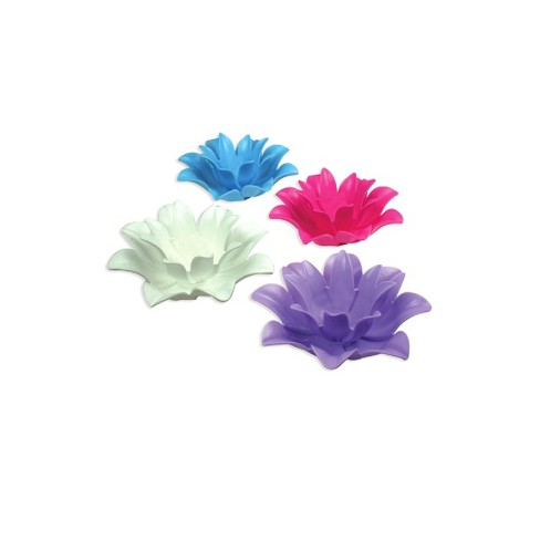 """Pool Master Set of 4 Floating Lotus Flower Tea Light Candle Holders 4-Pieces 9.75"""" - Vibrantly Colored - image 1 of 4"""