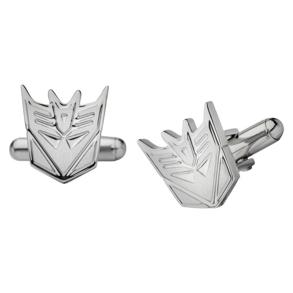 Image of Men's Hasbro Transformers Decepticon Stainless Steel Cut Out Cufflinks, Men's, Size: Small, Silver