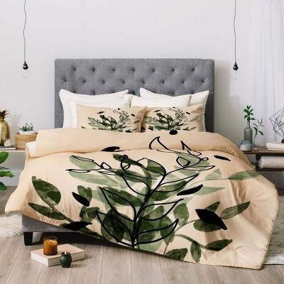 Aleeya Jones Green and Black Leaves Comforter Set - Deny Designs