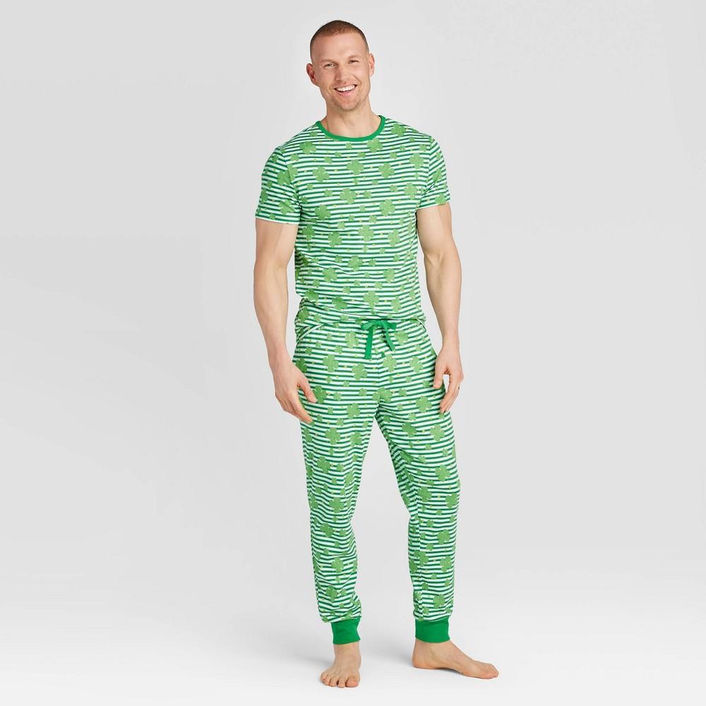 Image of Men's St. Patrick's Day Clover Leaf Pajama Set - Green XL, Men's, Green/green