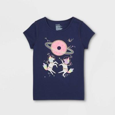 Girls' Adaptive Space Unicorns Short Sleeve Graphic T-Shirt - Cat & Jack™ Navy