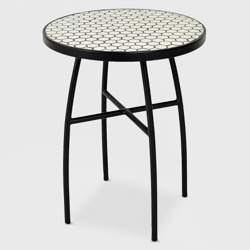 Mosaic Honeycomb Indoor/Outdoor Accent Table Black/Off-White - Threshold™ - image 1 of 4